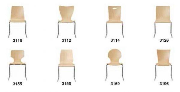 Seminarstuehle Besprechungsstuehle CFormgestell verschiedene Holzsitzschalen 2