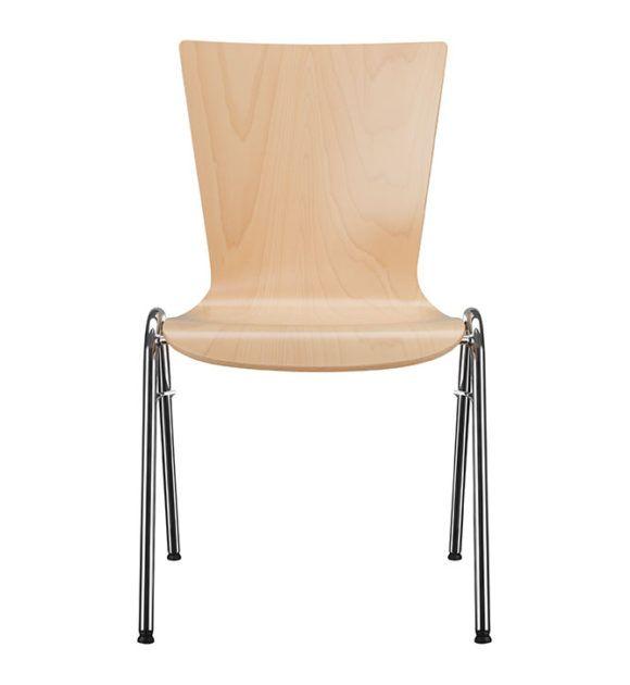 Seminarstühle, Besprechungsstühle, Vierbein Holzsitzschale Parabelgestell