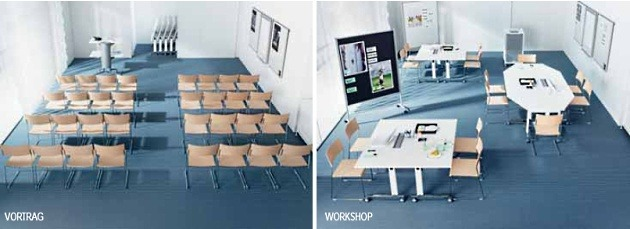 Seminartische n-table Stellbarkeit Vortrag Workshop