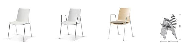 Mehrzweckstuhl nooi Meeting Cafeteria Stuhl gepolstert ungepolstert stapelbar