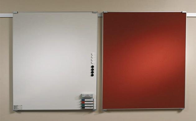 moduline Wandtafeln auf Wandschiene aus Aluminium, geraeuschlos, Flipchart und anderes Zubehoer