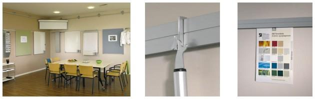 moduline Wandtafeln Wandschienen, Flipchart, Projektionswand, Prospekthalter, Zubehörschrank