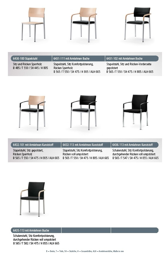 Mehrzweckstuhl aluform verschiedene Stuhlformen und Ausfuehrungen