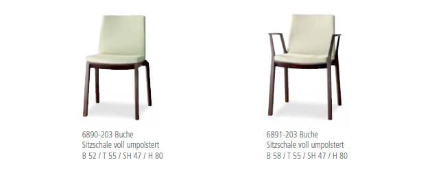 Holzstuhl arta Sitzschale voll umpolstert mit und ohne Armlehnen