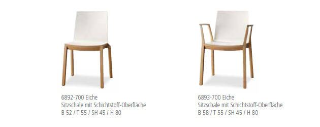 Holzstuhl arta Sitzschale mit Schichtstoff Oberflaeche