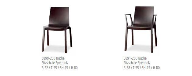 Holzstuhl arta mit Sitzschale Sperrholz Buche dunkel