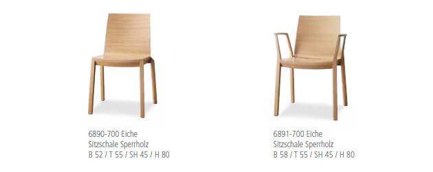 Holzstuhl mit Sitzschale Sperrholz Eiche