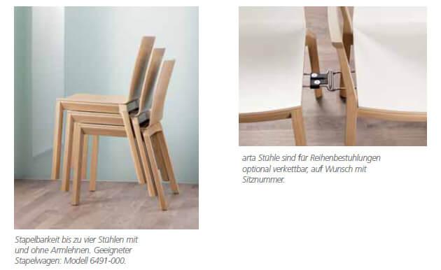 Holzstuhl arta stapelbar Reihenverbindung
