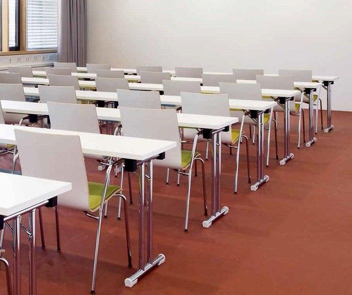Seminarstuhl 3352 Holzsitzschale gepolstert gebeizt oder beschichtet