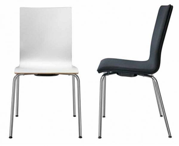 Seminarstuhl 3352, Holzsitzschale gepolstert, gebeizt oder beschichtet