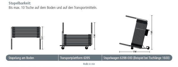 Stapeltisch yuno Stapelbarkeit am Boden Transportplattform Stapelwagen