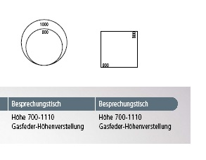 Veron Tischmasse HV-Gasfeder
