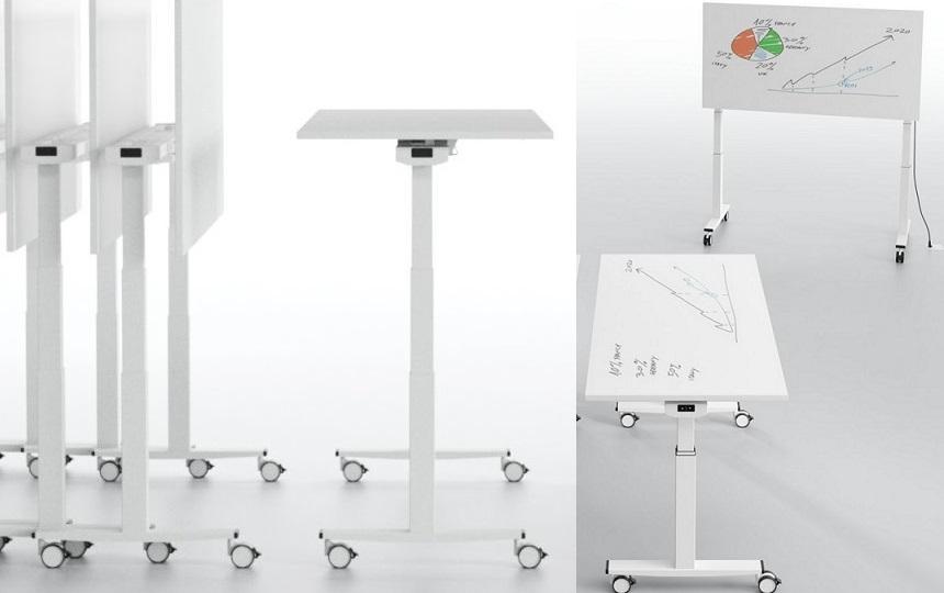 TeleMaco Seminartisch, elektrisch höhenverstellbar und Whiteboard