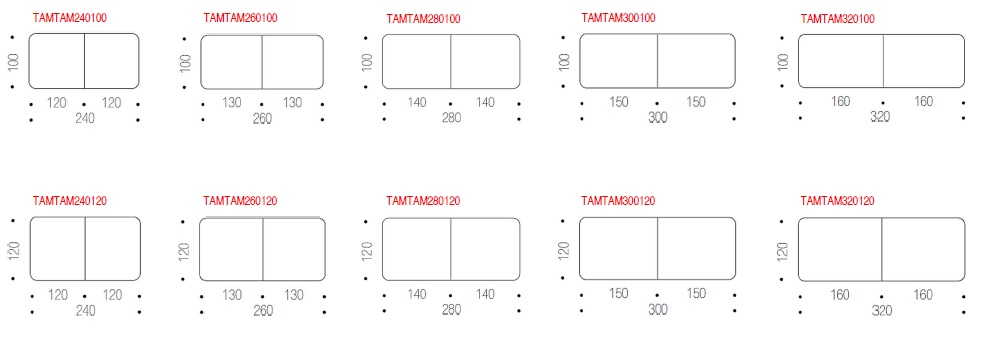 Tischplatten, Größe und Form von TamTam