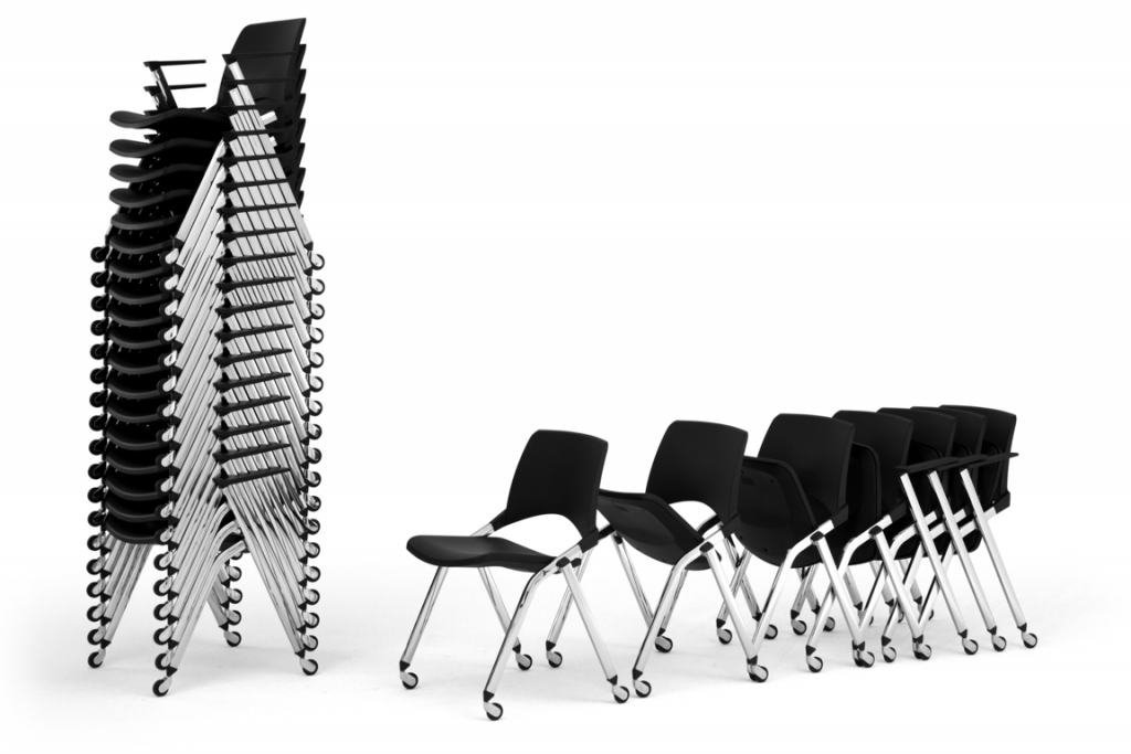 Juno-Opla Seminarstühle mit Klappsitz, staffelbar und stapelbar