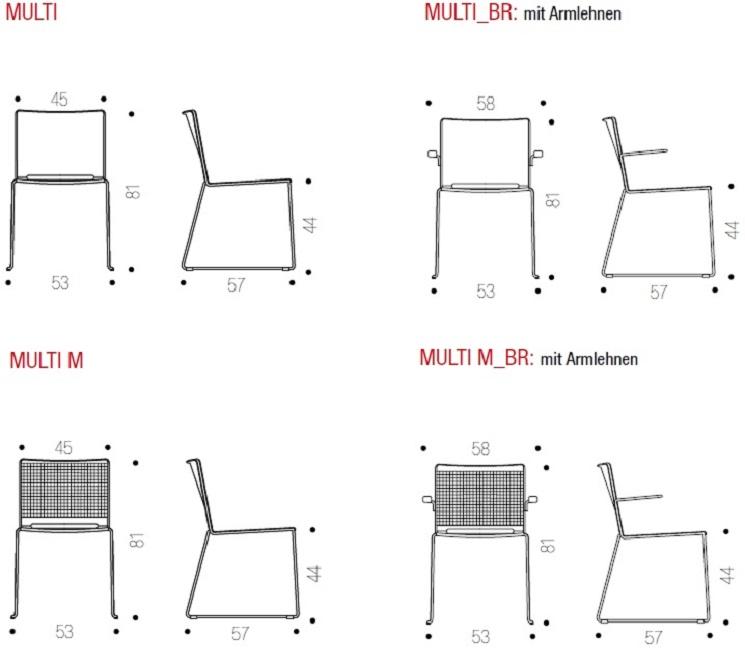 Multi Stühle Modellübersicht und -Masse