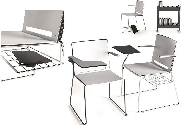 Zubehör Multi Stühle, Ablagekorb und Schreibtablar
