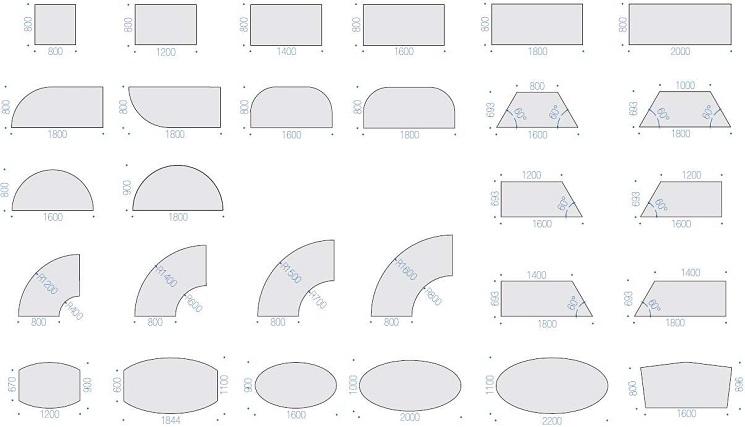 Archimede Tischplattenformen und Größen